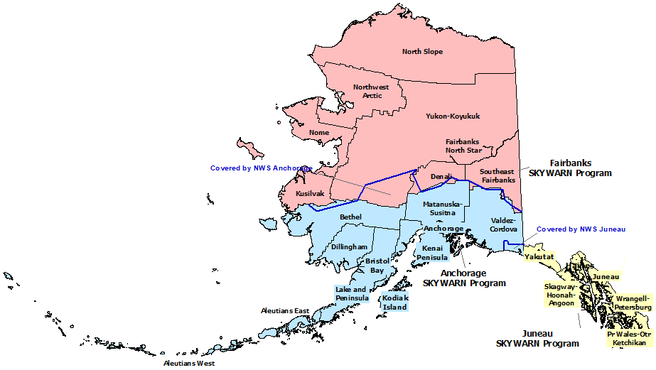 Alaska SKYWARN Contact map