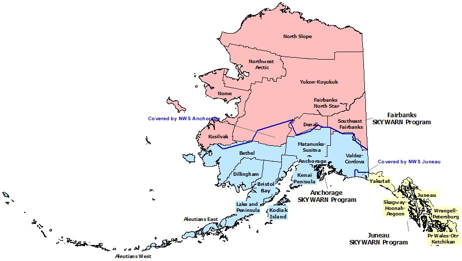 Alaska SKYWARN Contact map