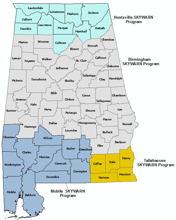 Alabama Skywarn Program Contact map