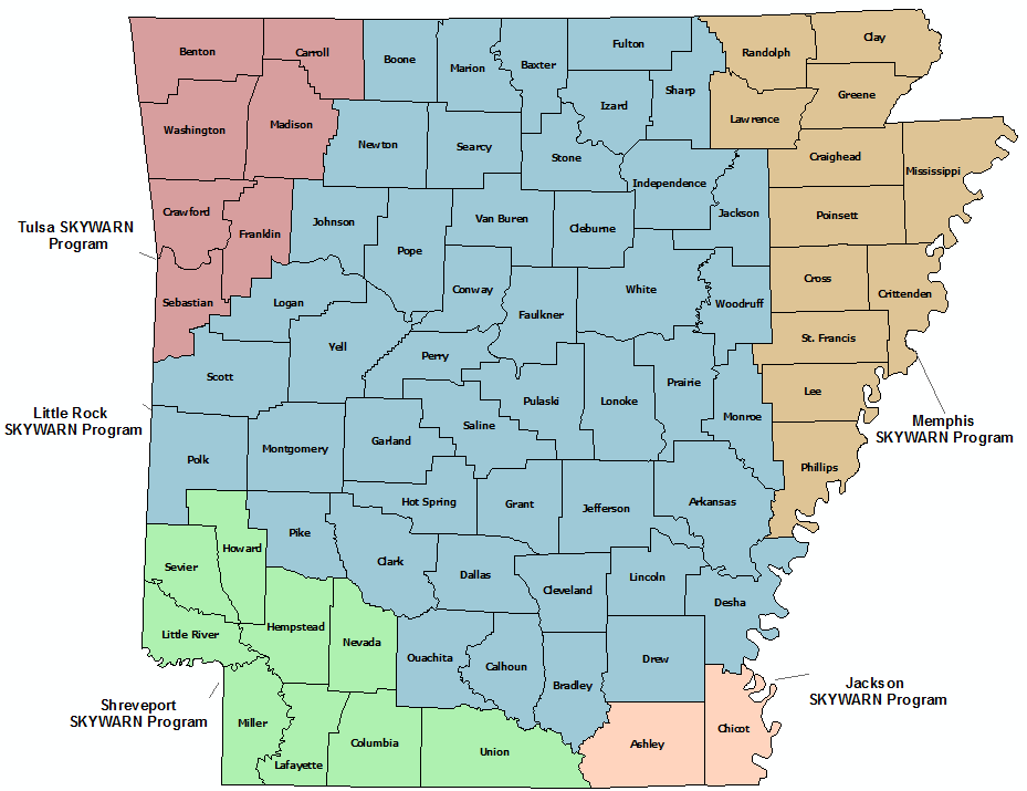 Arkansas Skywarn Program map