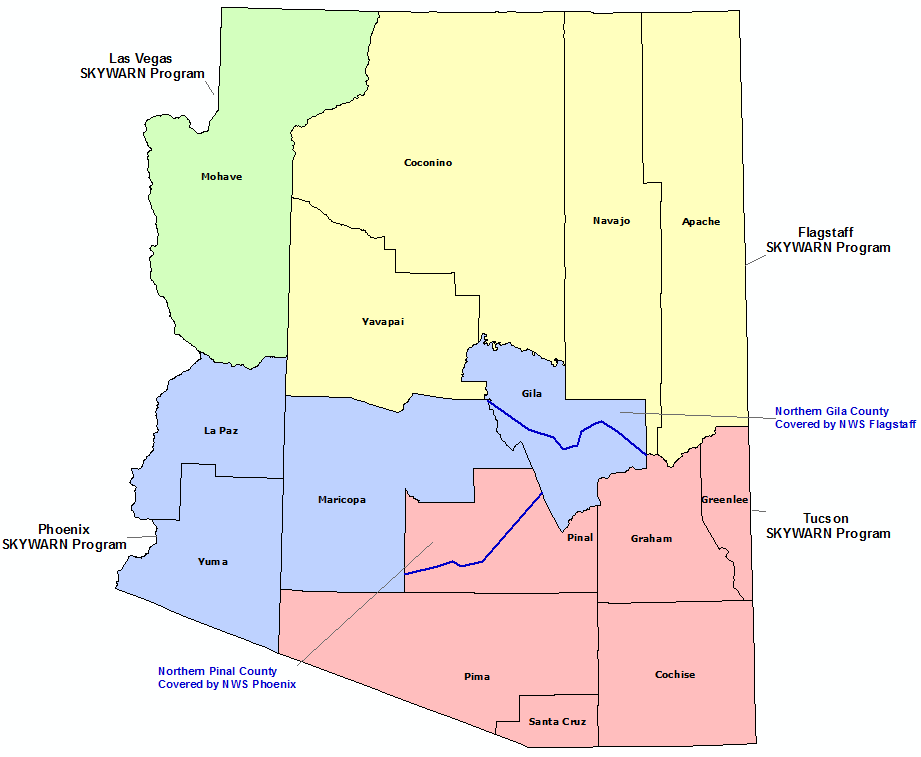 Arizona Skywarn Program Conact map