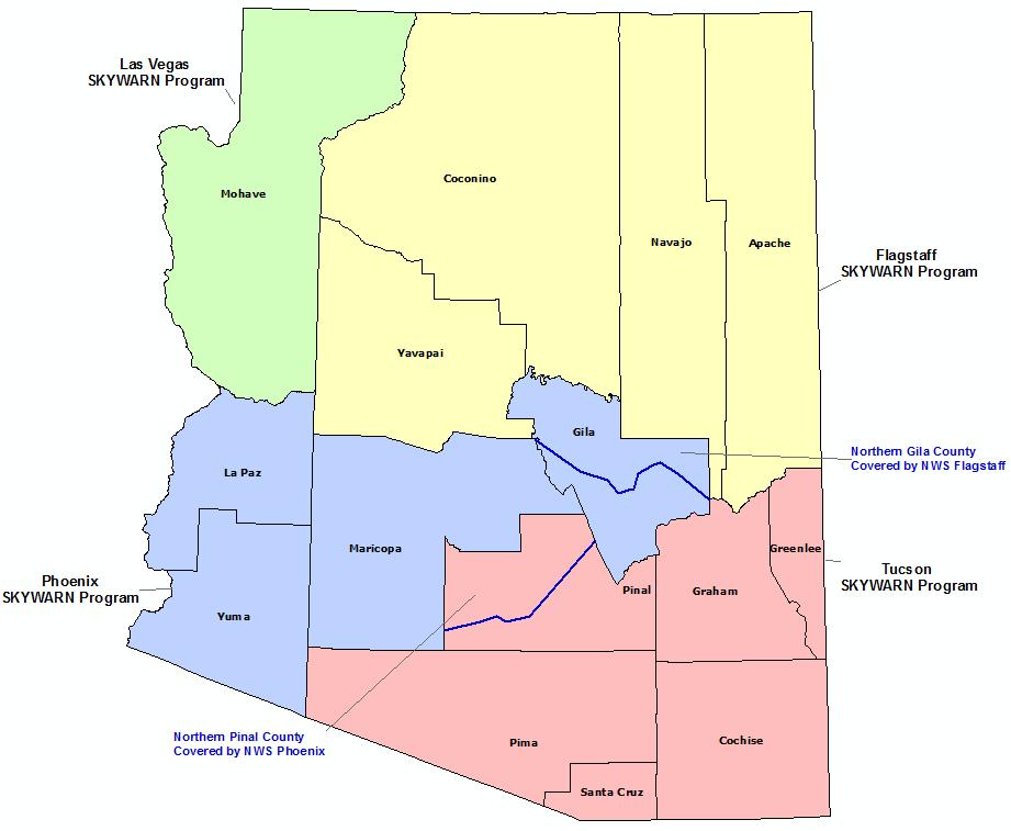 Arizona Skywarn Program Conact map