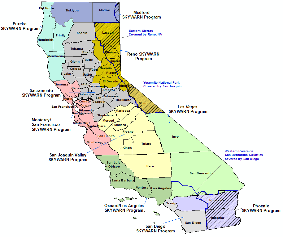 California Skywarn Program Contact map
