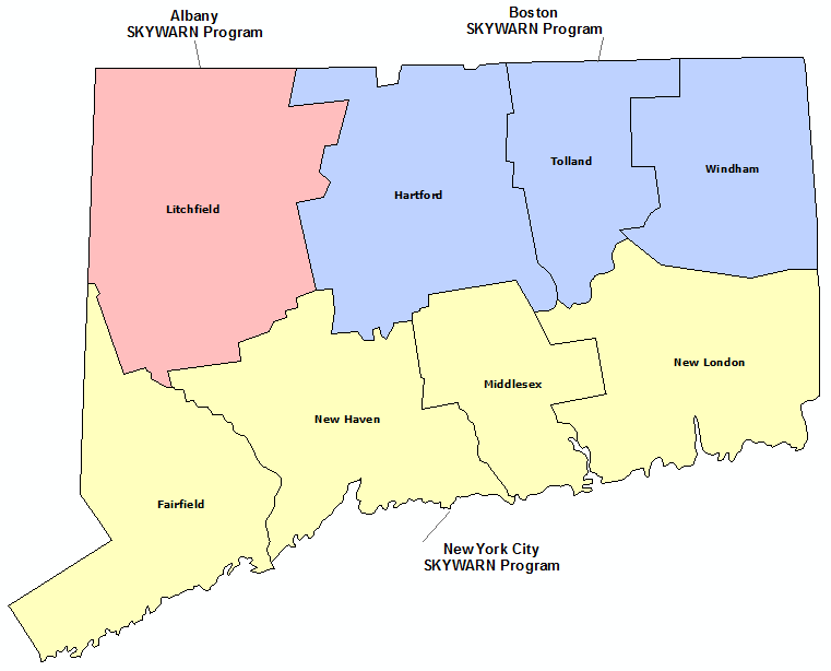 Connecticut Skywarn Program map
