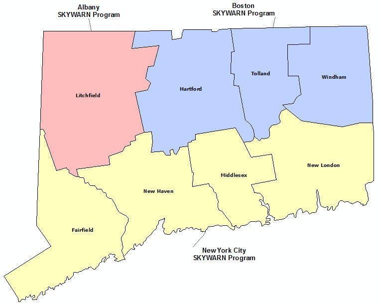 Connecticut Skywarn Program map