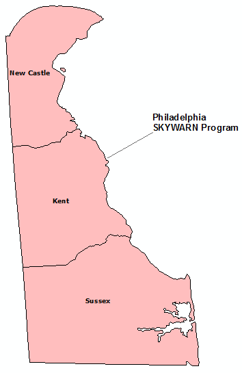 Delaware Skywarn Program map