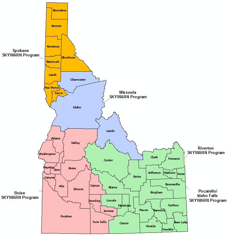 Idaho Skywarn Program map