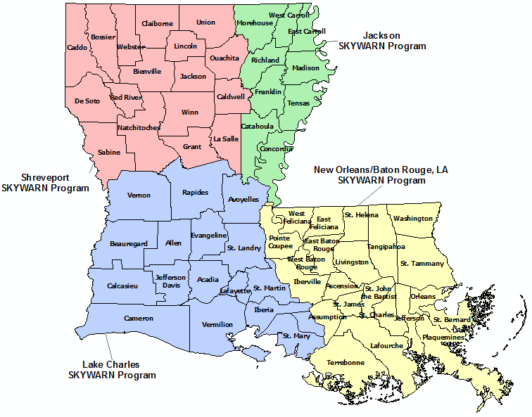 Louisiana Skywarn Program map
