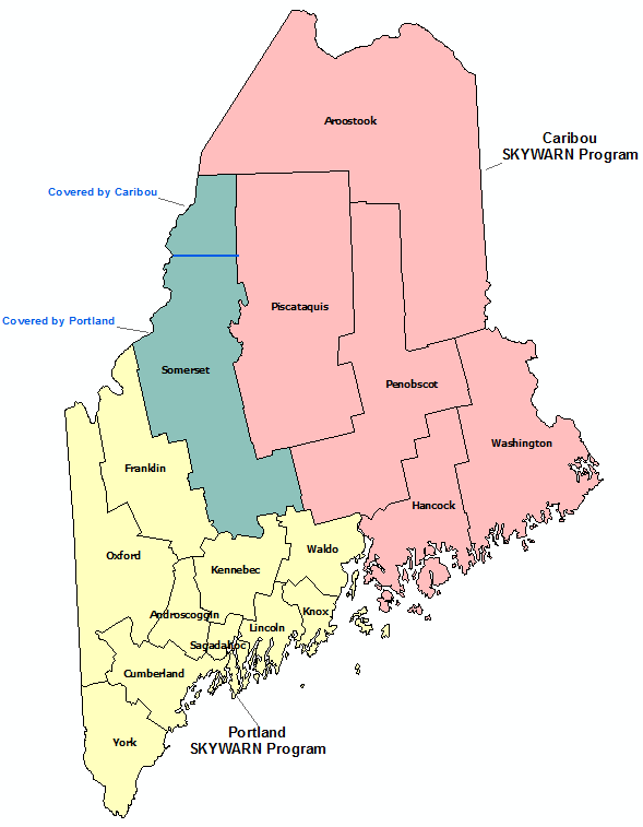Maine Skywarn Program map