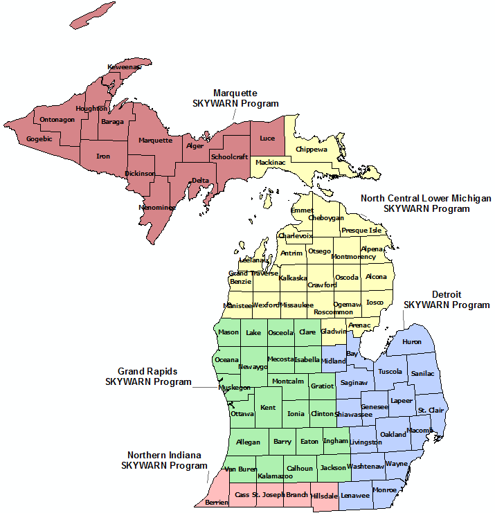 Michigan Skywarn Program map