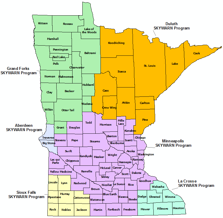 Minnesota Skywarn Program map