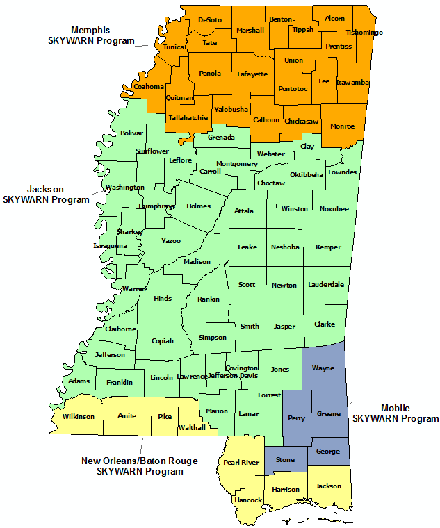 Mississippi Skywarn Program Contact map