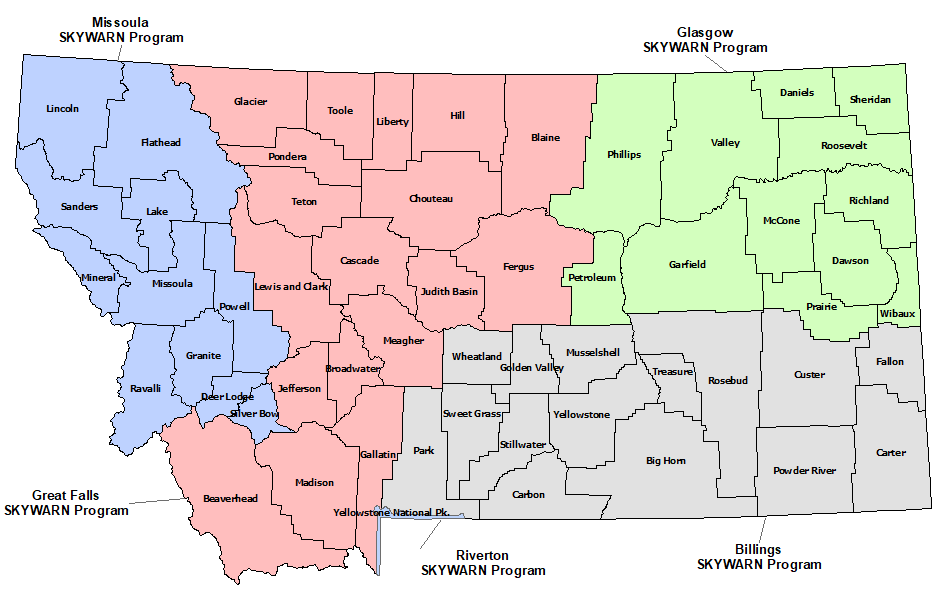 Montana Skywarn Program map