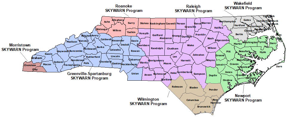 North Carolina Skywarn Program map