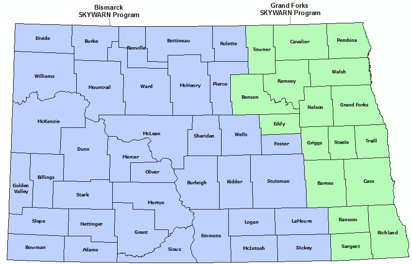 North Dakota Skywarn Program map