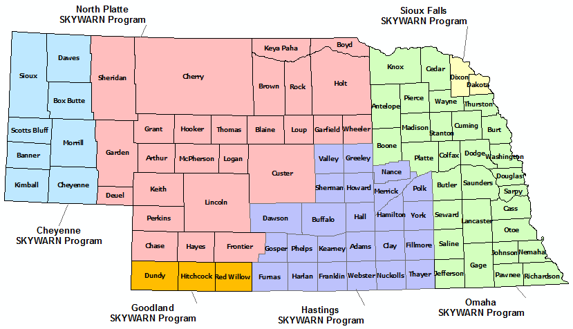 Nebraska Skywarn Program map