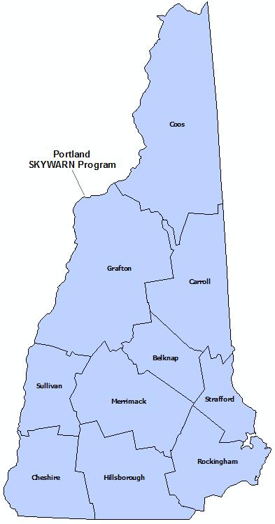New Hampshire Skywarn Program map