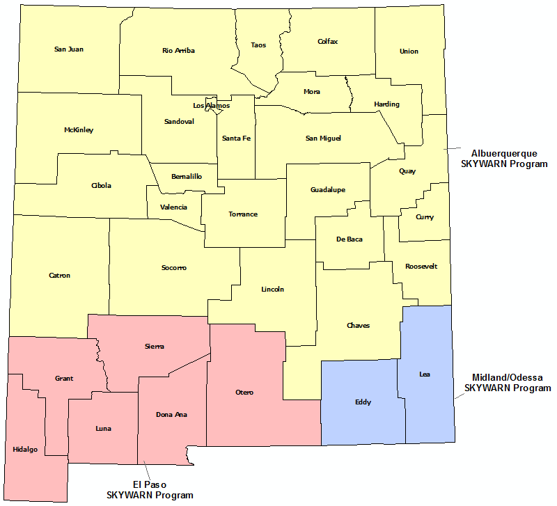 New Mexico Skywarn Program map