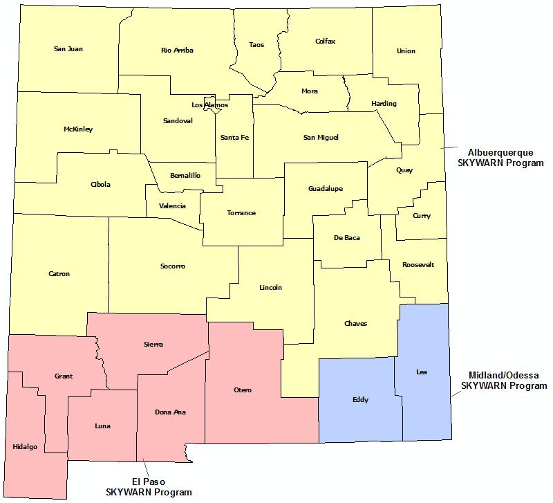 New Mexico Skywarn Program map