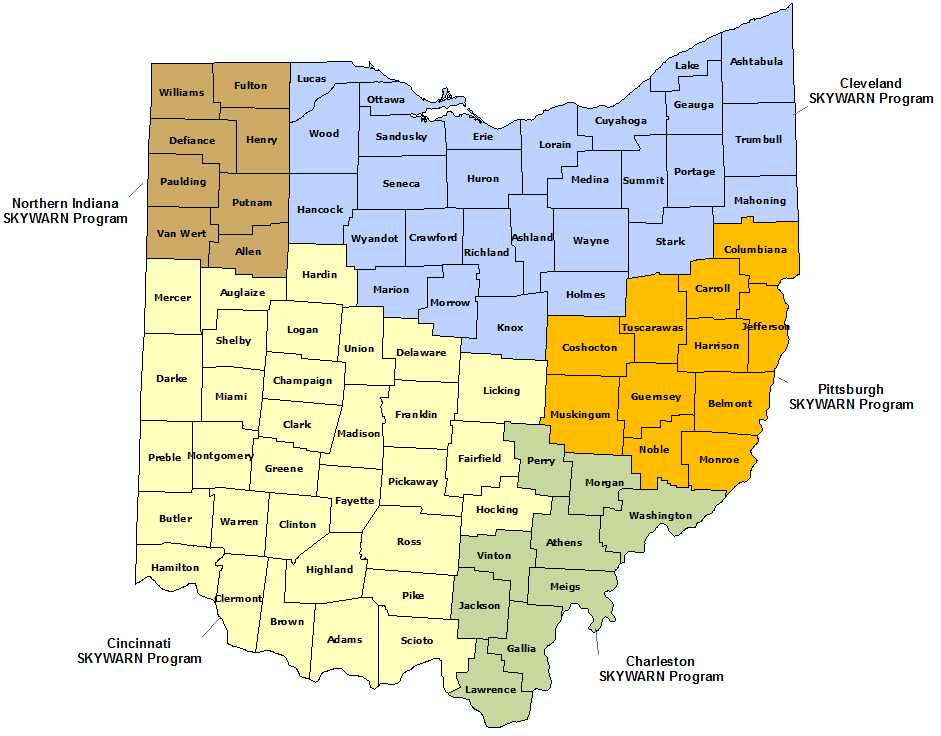 Ohio Skywarn Program map