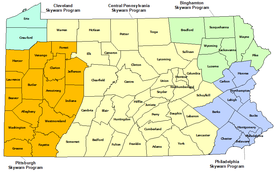 Pennsylvania Skywarn Program map