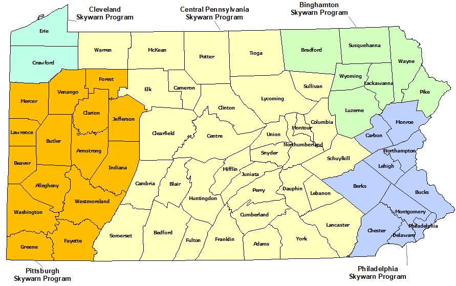 Pennsylvania Skywarn Program map