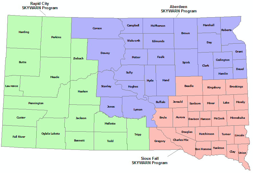 South Dakota Skywarn Program map