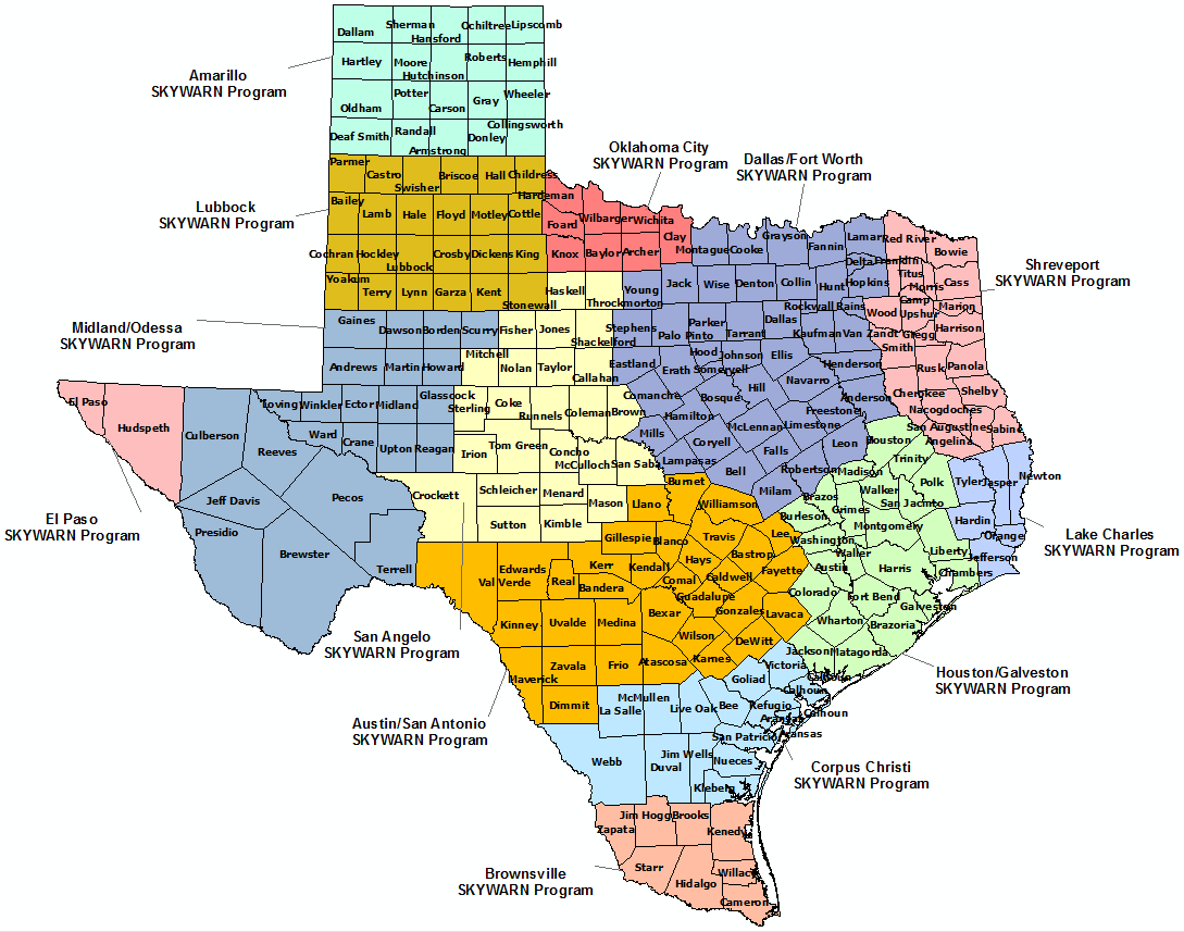 Texas Skywarn Program map