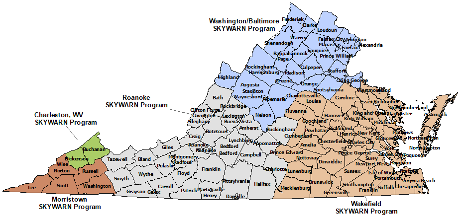 Virginia Skywarn Program map