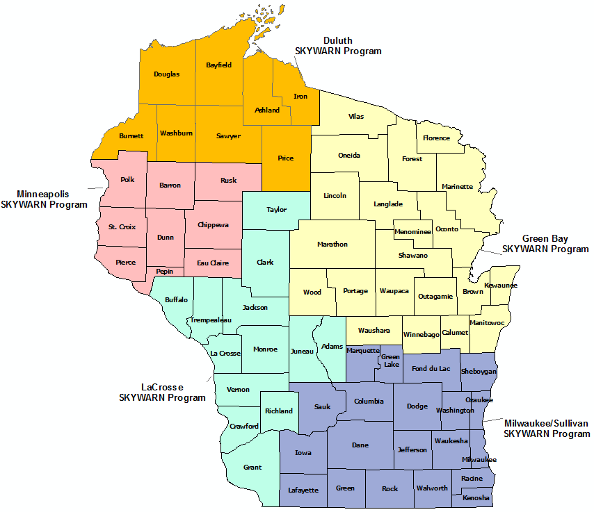 Wisconsin Skywarn Program map