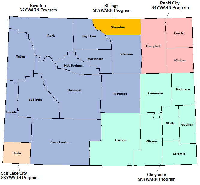Wyoming Skywarn Program map