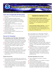NOAA Hurricane Safety Fact Sheet - Spanish