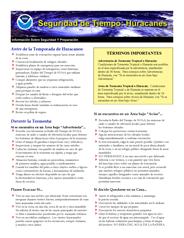 NOAA Hurricane Safety Fact Sheet - Spanish