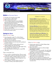 NOAA Hurricane Safety Fact Sheet - English