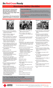 Red Cross Hurricane Safety Checklist - English