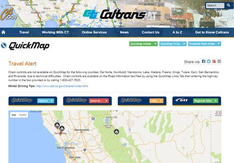 Sacramento CA - Caltrans traffic map