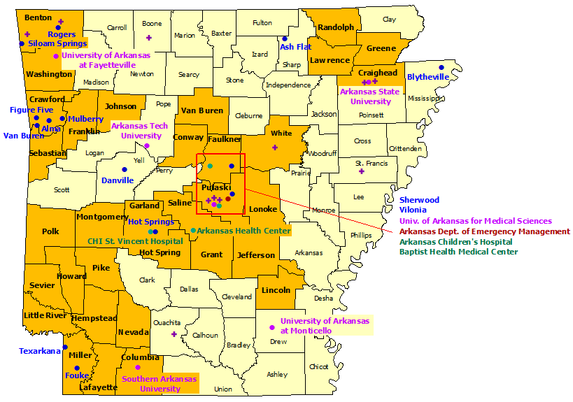 Arkansas StormReady Communities. Click for state map and list