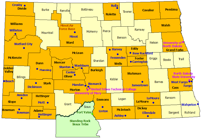 North Dakota StormReady Communities. Click for state map and list
