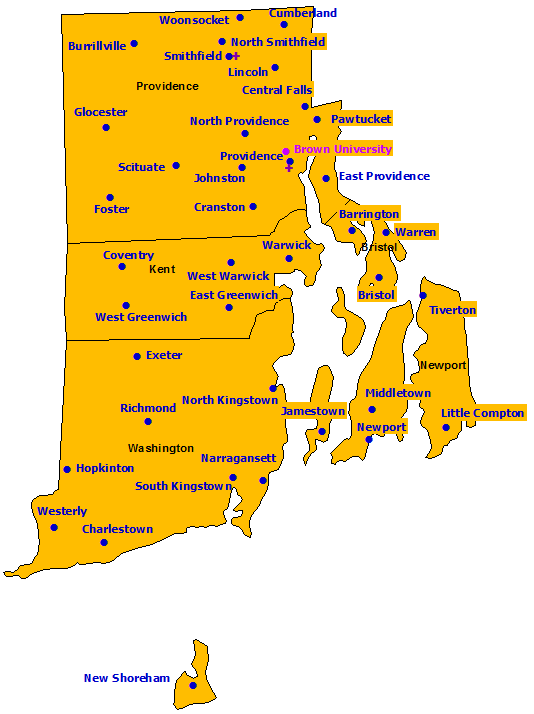 Rhode Island StormReady Communities. Click for state map and list