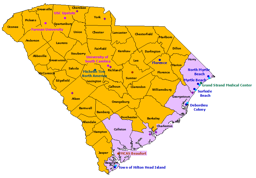 South Carolina StormReady Communities. Click for state map and list