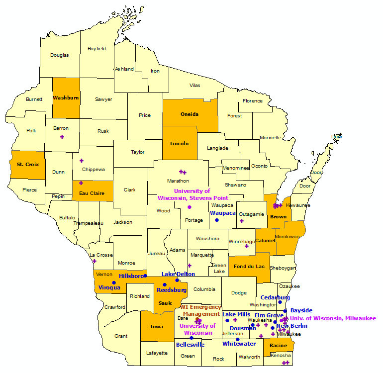 Wisconsin StormReady Communities. Click for state map and list