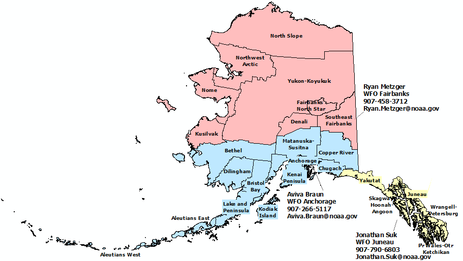 Alaska NWS County Warning Area And Contacts - Alaska county map