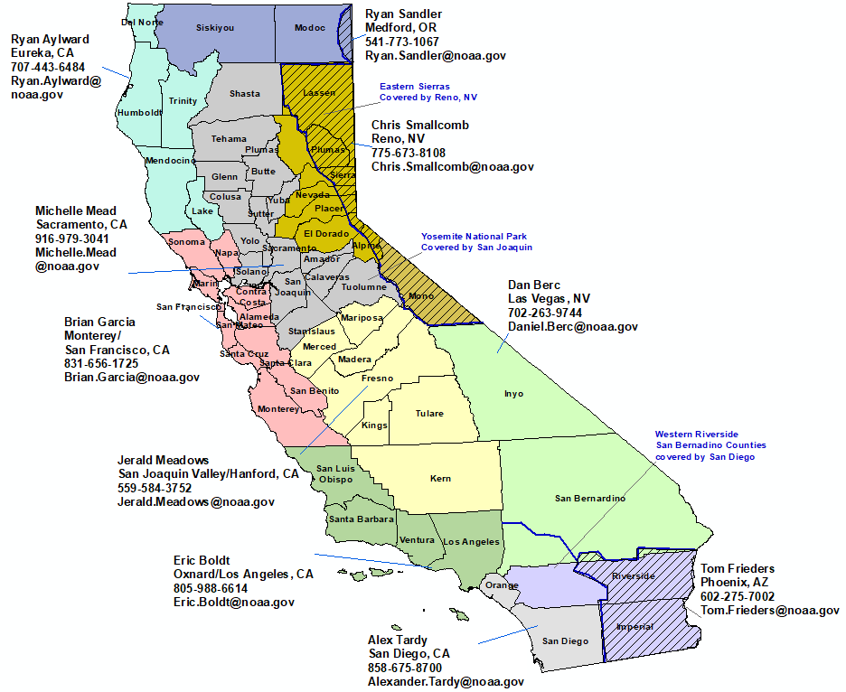 California StormReady Contact map.