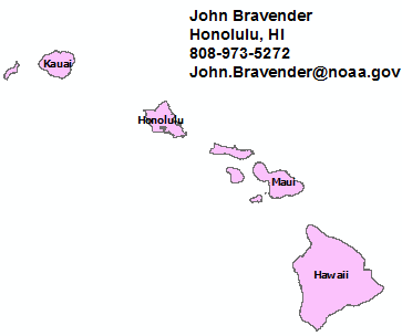 Hawaii StormReady contact map