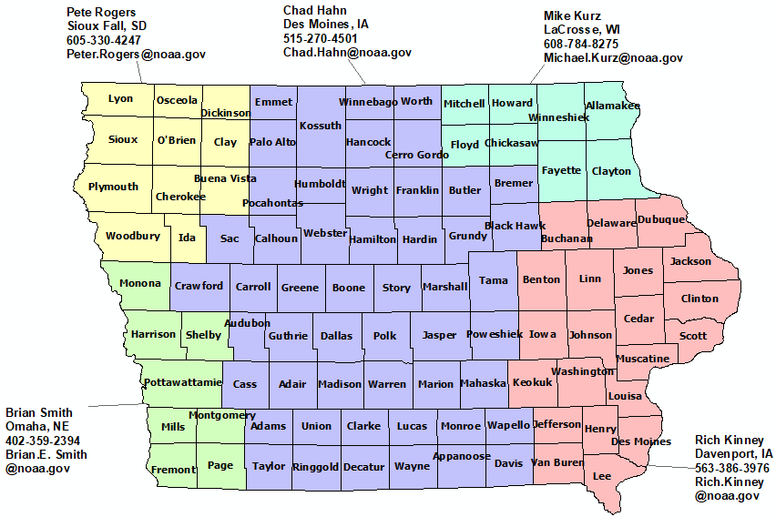 Iowa StormReady contact map