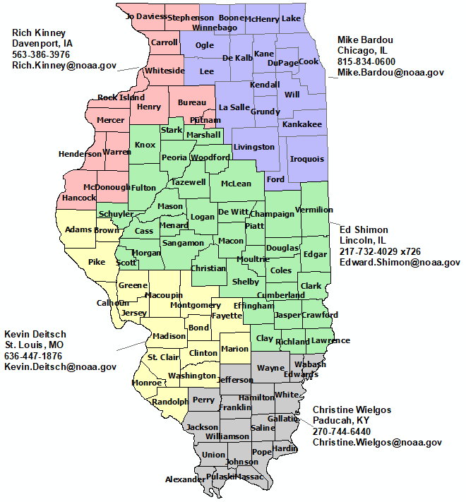 Illinois StormReady contact map