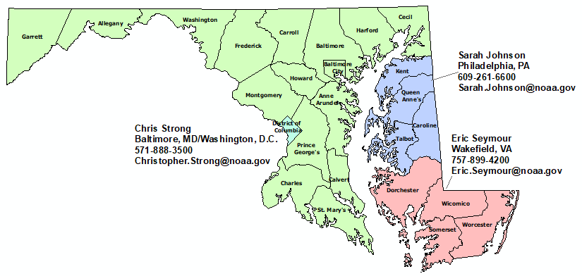 Maryland StormReady Contact map