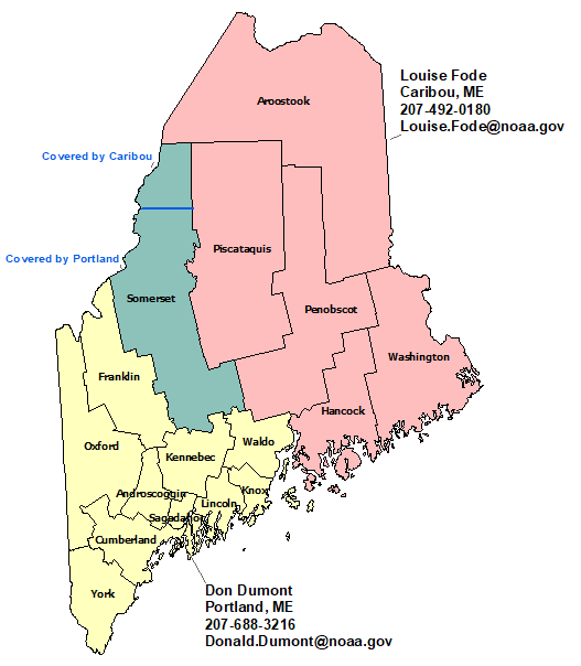 Maine StormReady Contact map