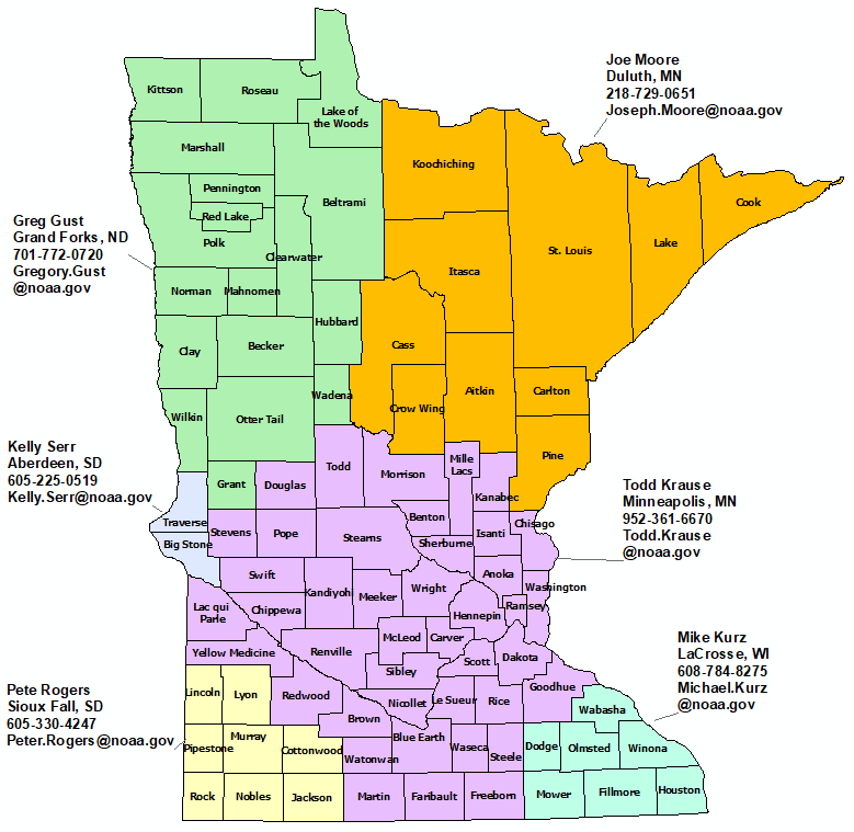 Minnesota StormReady Contact map