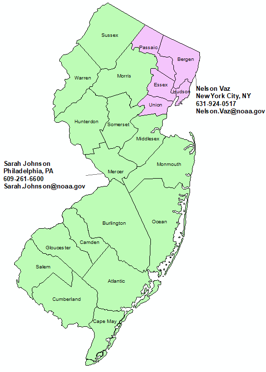New Jersey StormReady Contact map